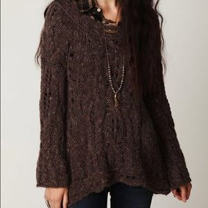 Free People Fluted Bell Sleeve Cable Knit Sweater